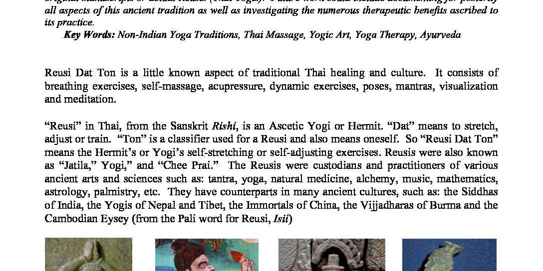Reusi Dat Ton The Thai Hermits Exercises - Wells Yoga